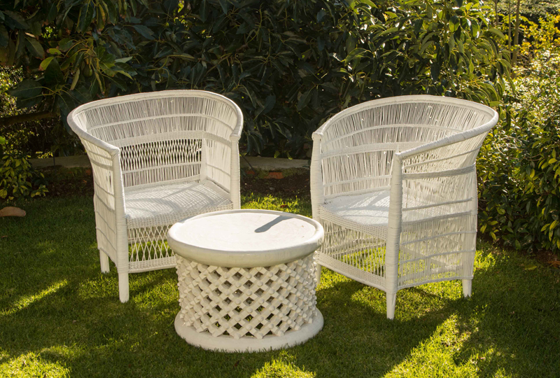 White Rattan Cane Chairs and Small Table